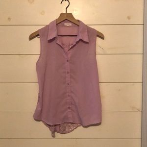 Lilac button up tank with lace detail